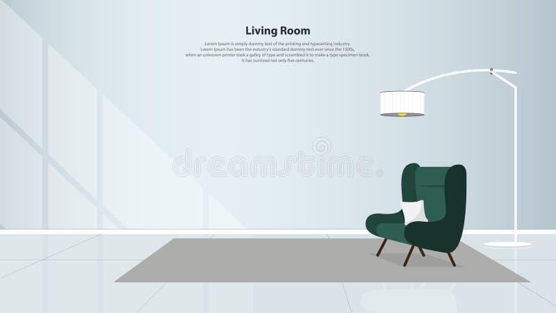 Interior design domestico con mobilia Salone moderno con la poltrona verde Vettore royalty illustrazione gratis