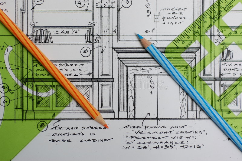 Download Interior Design Drawings Stock Photo. Image Of Template   3074078