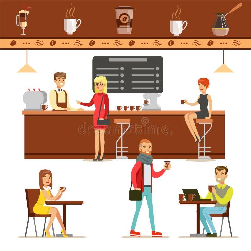 Interior design e clienti felici di un insieme della caffetteria delle illustrazioni royalty illustrazione gratis
