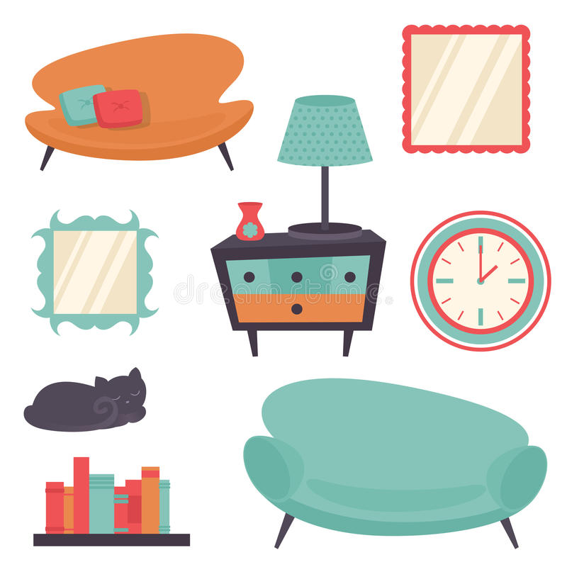 Interior design elements royalty free illustration