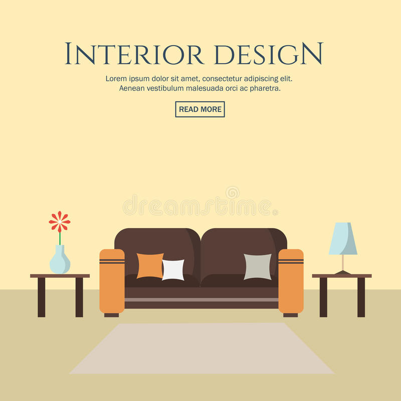 Interior Design Flat Style Concept Set. Stock Vector ...