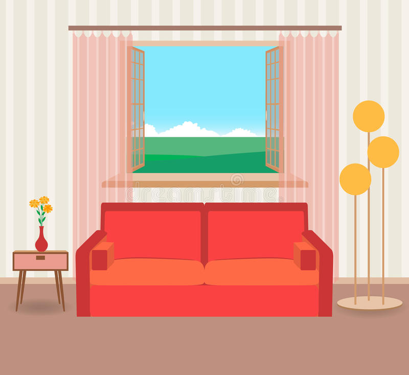 Interior design in flat style of living room with furniture, sofa, flower, lamp and window. stock illustration
