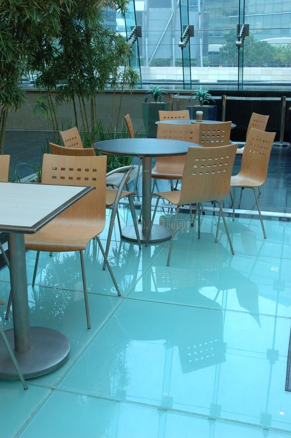 Interior design of food court area stock photo