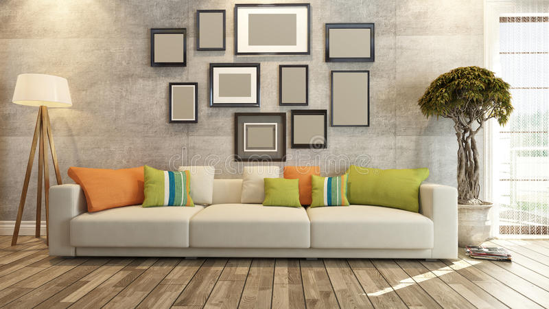 Interior design with frames on concrete wall 3d rendering royalty free illustration