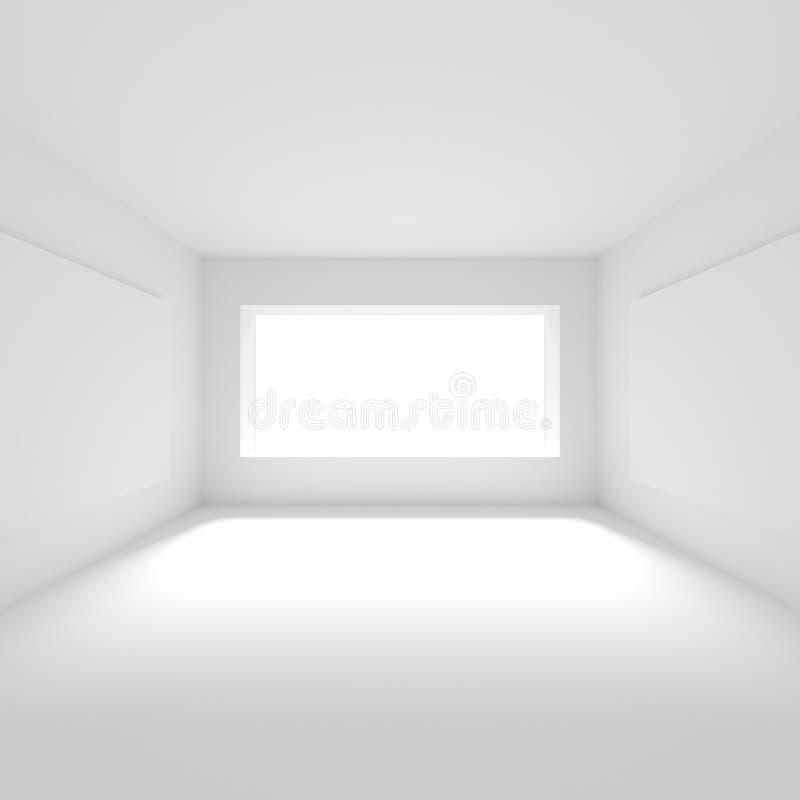 Interior design futuristico Stanza vuota bianca con la finestra minimi illustrazione di stock