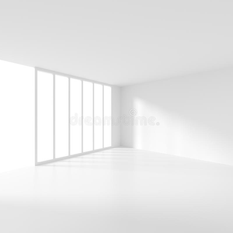 Interior design futuristico Stanza vuota bianca con la finestra minimi illustrazione vettoriale