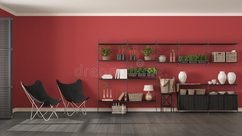 Interior design grigio e rosso di Eco con lo scaffale per libri di legno, verde diy fotografia stock