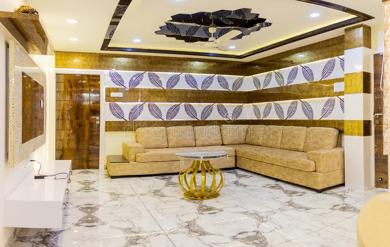 Interior Design Hall and sofa. Interior design is the art and science of enhancing the interior of a building to achieve a healthier and more aesthetically stock photos