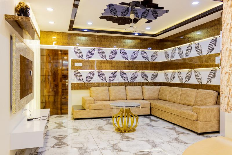Interior Design Hall and sofa. Interior design is the art and science of enhancing the interior of a building to achieve a healthier and more aesthetically royalty free stock photos