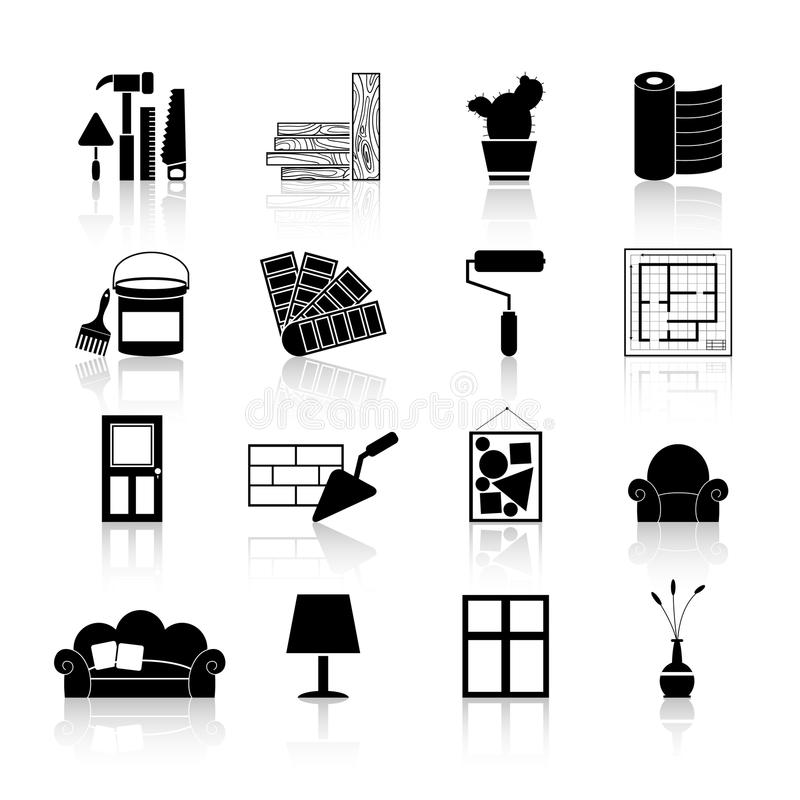 Interior Design Icons Black Stock Vector Illustration Of