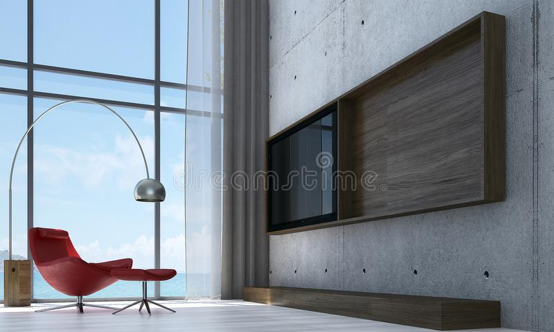 Download The Interior Design Idea Of Lounge And Living Room Concrete Wall Pattern LCD