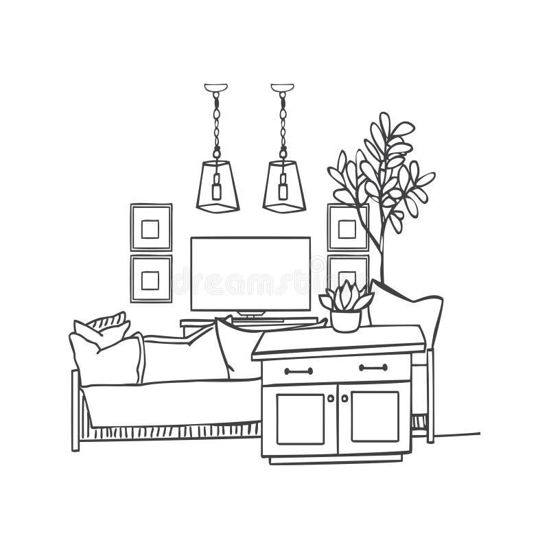 Interior design illustration sketch. Modern white living room tr stock illustration