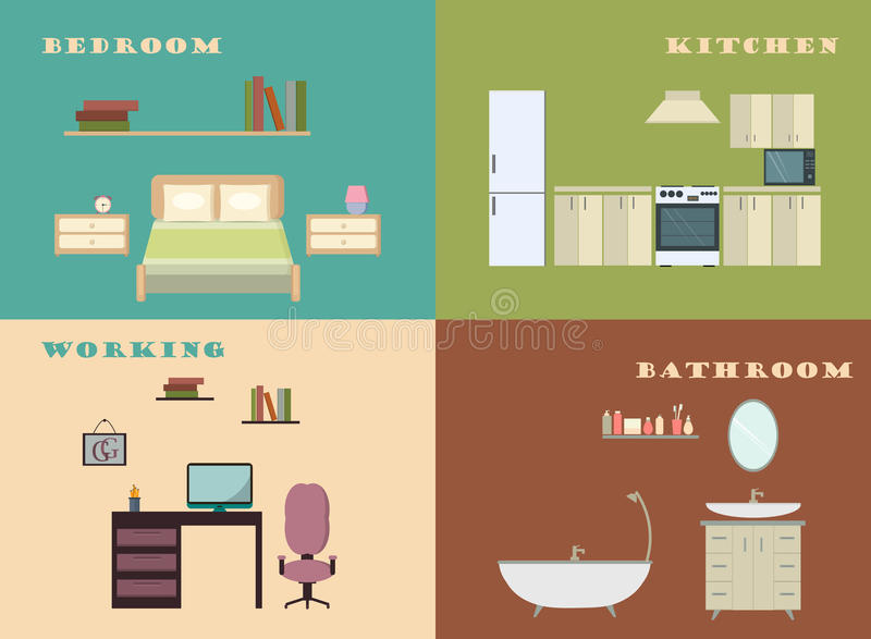 Set Of Elements To Interior Design Infographics.Design Conceptual  Backgrounds With Icons And Infographic Elements. Flat Illustration.