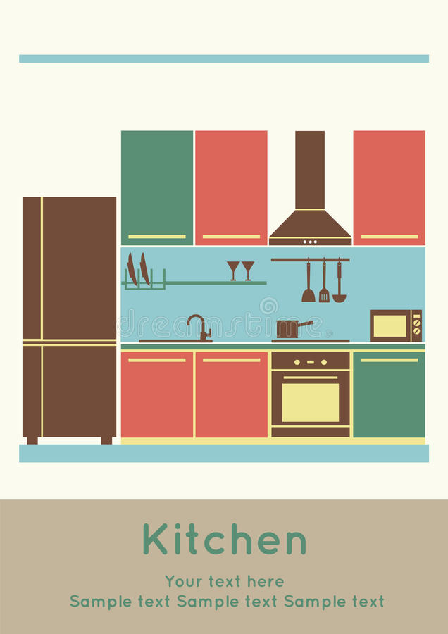 Interior design, kitchen stock photography