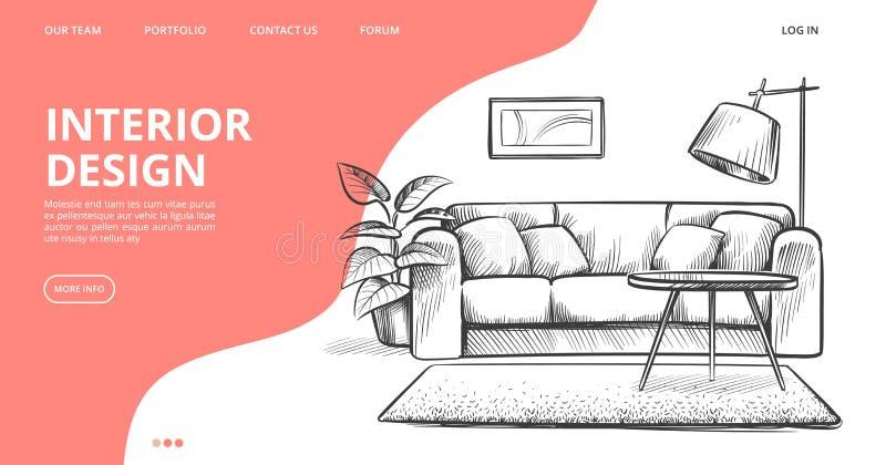 Interior design landing page. Vector sketch of living room. Hand drawn furniture stock illustration