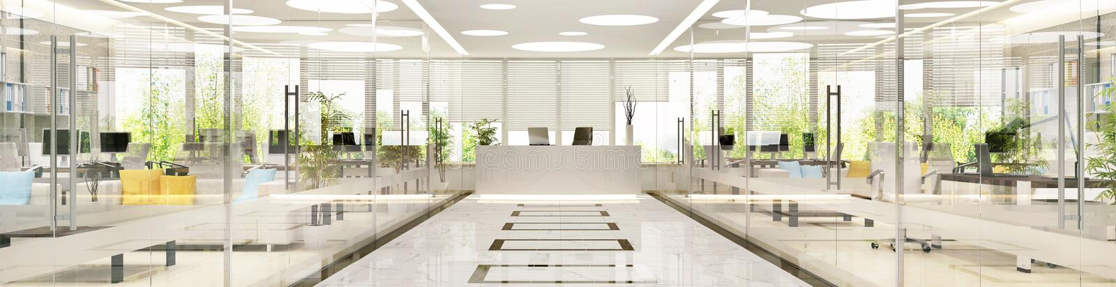 Interior design of large spacious office stock image