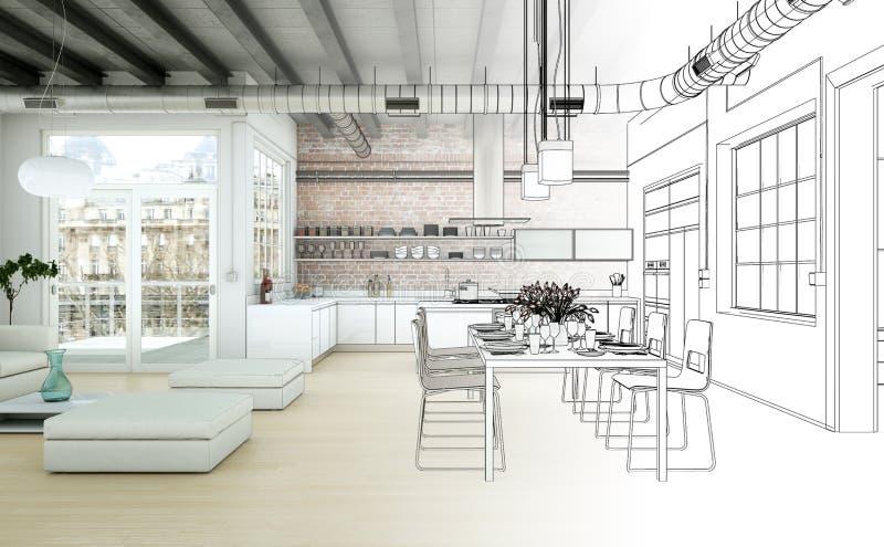Interior Design Living Room Drawing Gradation Into ...