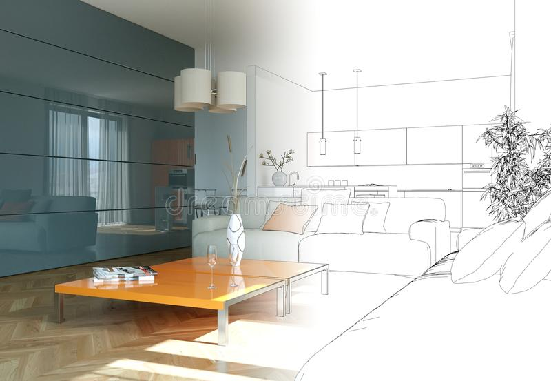 Download Interior Design Living Room Drawing Gradation Into Photograph Stock Image