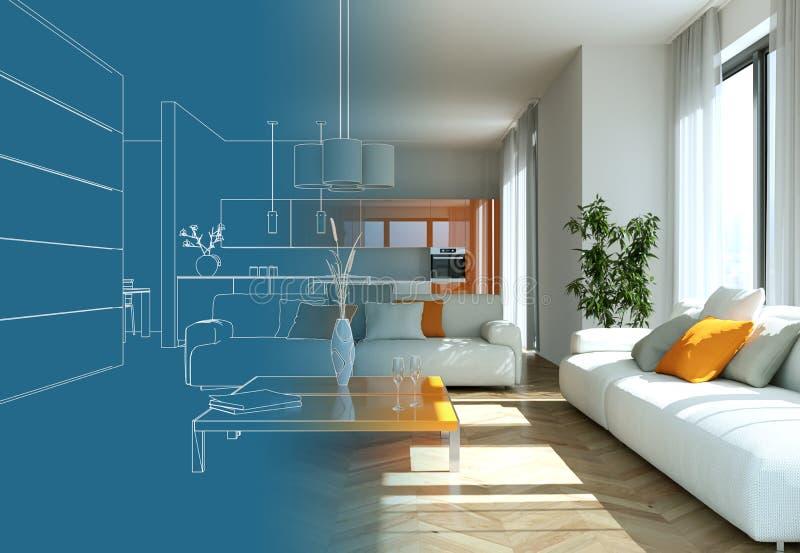 Interior Design Living Room Drawing Gradation Into Photograph. 3D Illustration stock illustration