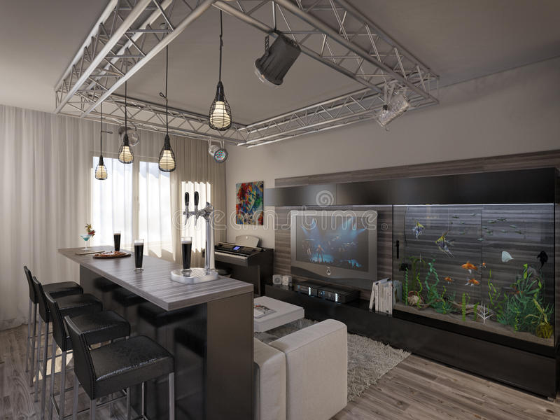 Interior design living room with kitchen. 3D visualization of a modern interior living room with kitchen royalty free stock photos