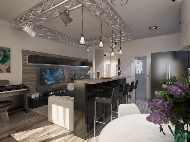 Interior design living room with kitchen. 3D visualization of a modern interior living room with kitchen royalty free stock images