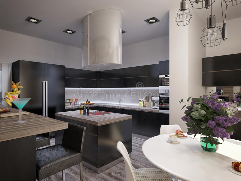 Interior design living room with kitchen. 3D visualization of a modern interior living room with kitchen stock photo