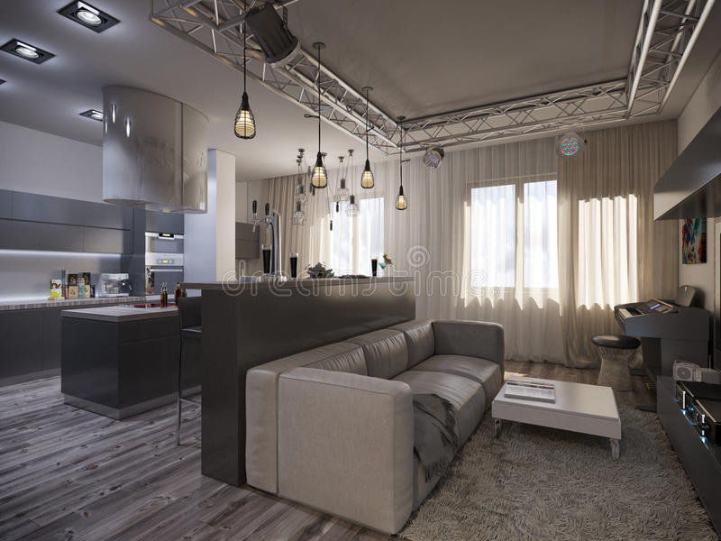 Interior design living room with kitchen. 3D visualization of a modern interior living room with kitchen stock image