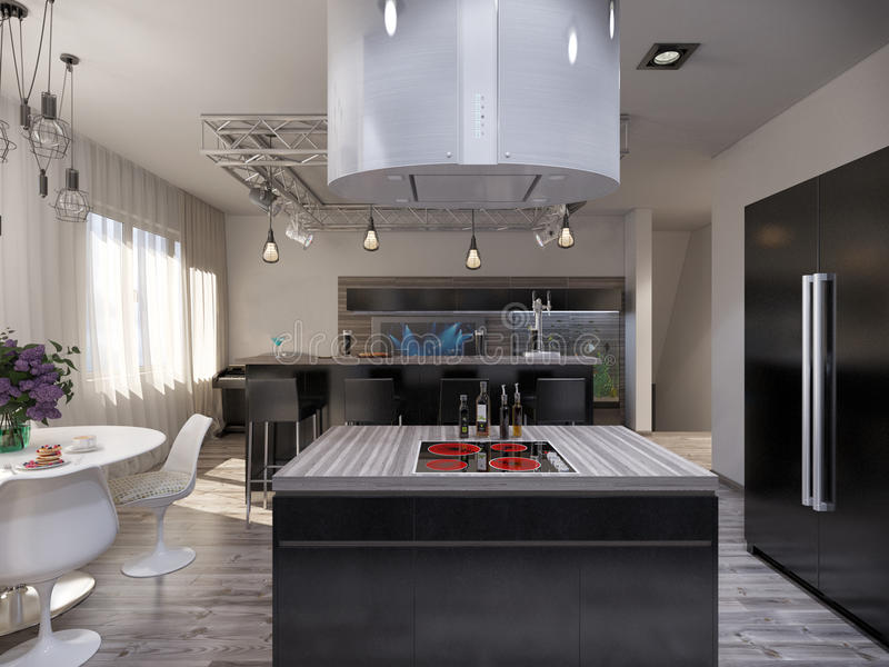 Interior design living room with kitchen. 3D visualization of a modern interior living room with kitchen vector illustration