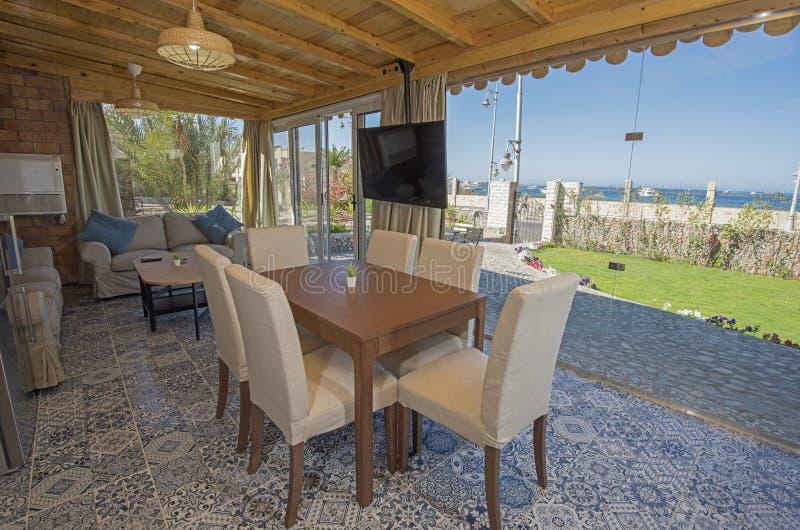 Interior design of luxury holiday villa living room royalty free stock image
