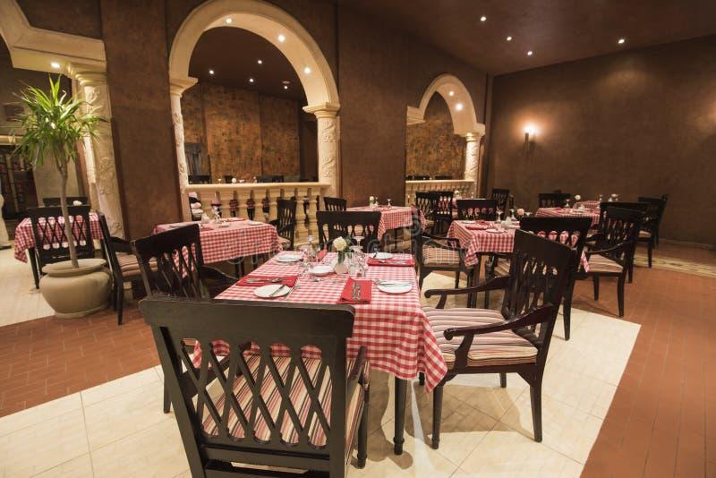 Interior design of a luxury hotel restaurant stock image