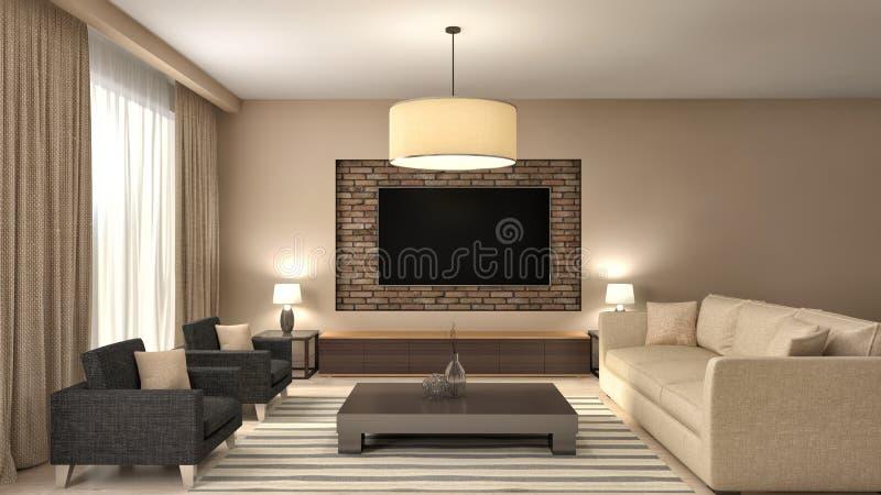 Interior design marrone moderno del salone illustrazione 3D royalty illustrazione gratis