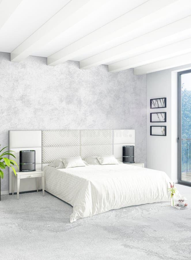 Interior design minimo bianco di stile del salone o della camera da letto con la parete ed il sofà alla moda fotografia stock