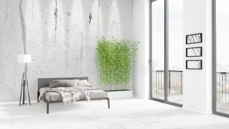 Interior design minimo di stile della camera da letto for Grande layout di design della camera