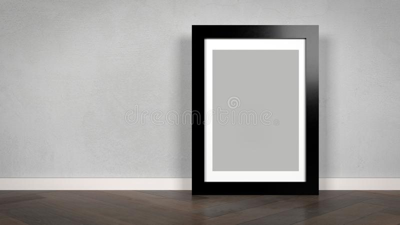 Interior design mockup with picture frame. A 3D illustration of a interior design mockup with a picture frame with gray background and passepartout stock illustration