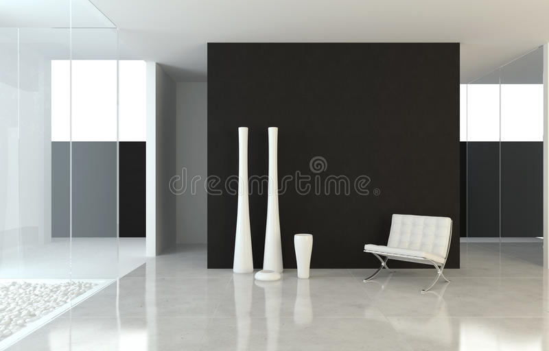 Interior design modern B&W vector illustration