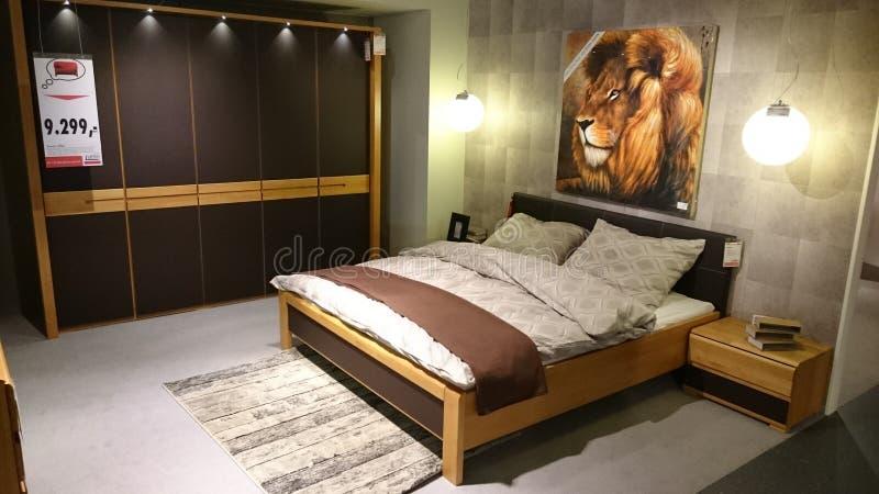 Interior design of a modern bedroom. Interior design for modern homes at a furniture producer showroom stock images