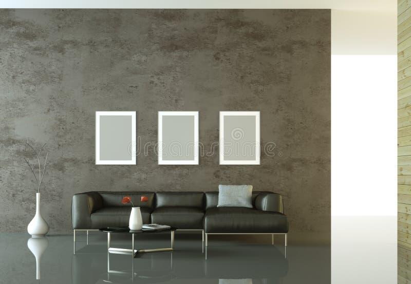 Interior design modern bright room with black sofa vector illustration