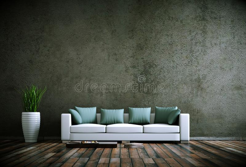 Interior design modern bright room with white sofa royalty free illustration