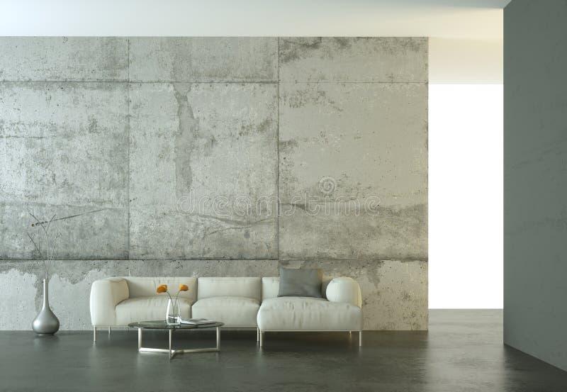 Interior design modern bright room with white sofa stock illustration
