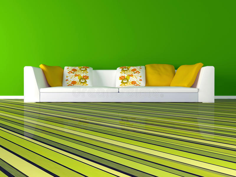 Download Interior Design Of Modern Green Living Room Stock Illustration - Image: 19127142