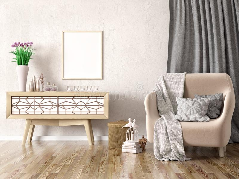 Interior design of modern living room with armchair and cabinet, 3d renderin. Interior design of modern living room with armchair, plaid and pillows, cabinet stock illustration