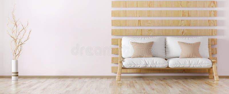 Interior design of modern living room 3d rendering. Interior design of modern living room with sofa 3d rendering stock illustration