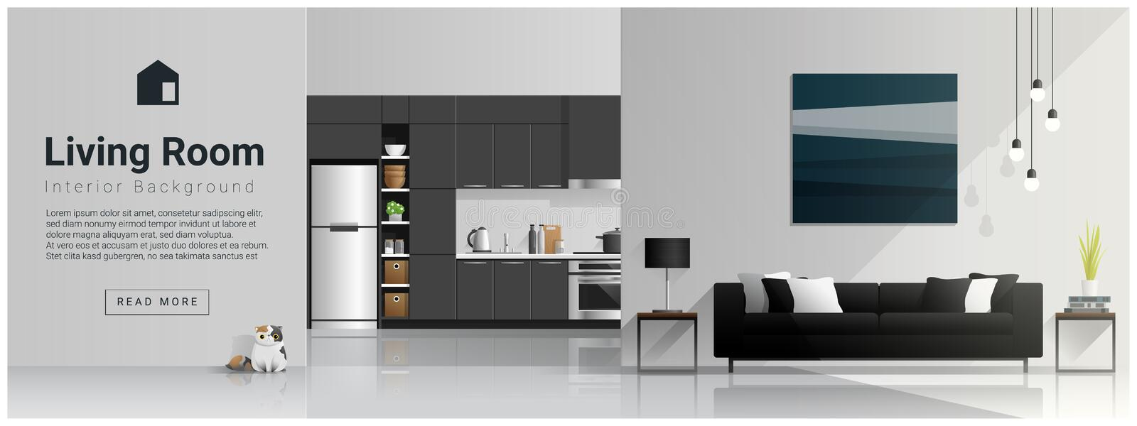 Interior design with modern living room and kitchen background stock illustration