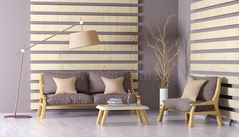 Interior design of modern living room with sofa, coffee table an. Interior design of modern living room with sofa, armchair, coffee table and floor lamp, 3d royalty free illustration