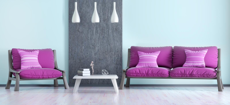 Interior design of modern living room with sofa and armchair 3d. Interior design of modern living room with sofa and armchair, panorama 3d rendering vector illustration