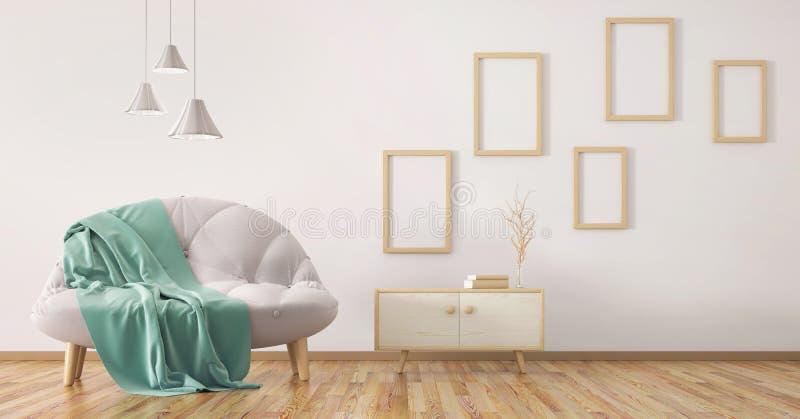 Interior design of modern living room with sofa 3d rendering. Interior design of modern living room with sofa and cabinet 3d rendering royalty free illustration