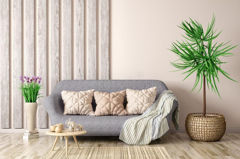Interior design of modern living room with sofa and coffee table, 3d rendering. Interior design of modern living room with sofa and coffee table, flower 3d royalty free illustration