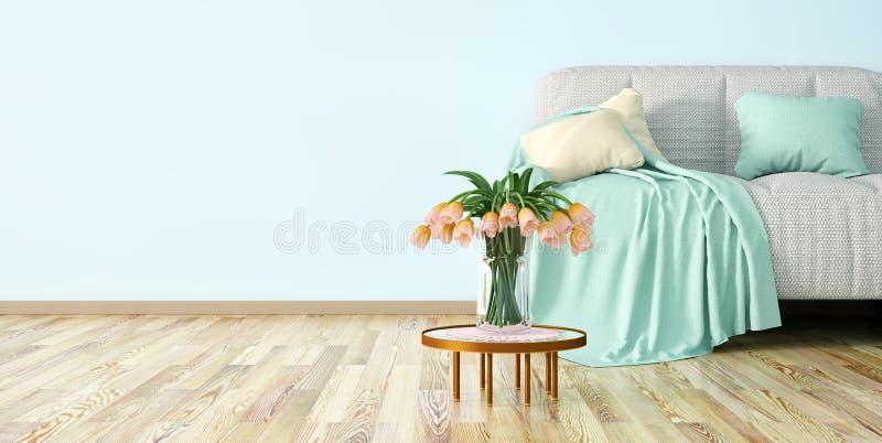 Interior design of modern living room with sofa and flowers 3d rendering. Interior design of modern living room with sofa, coffee table and flowers 3d rendering vector illustration