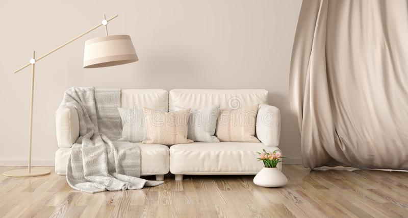 Interior design of modern living room with sofa and curtain, 3d rendering. Interior design of modern living room with sofa and curtain, floor lamp 3d rendering vector illustration