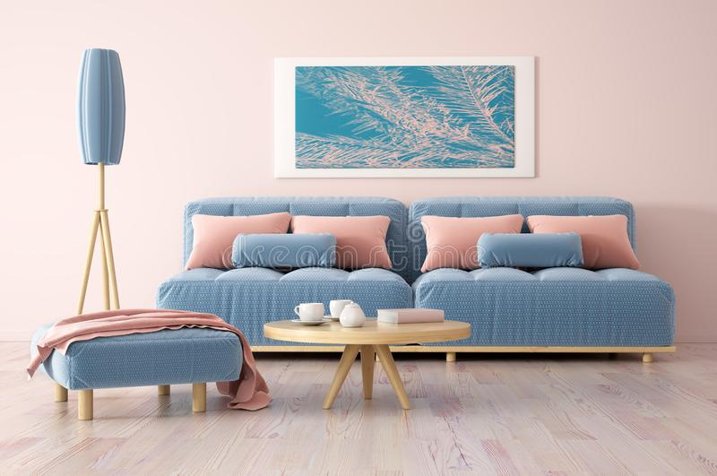 Interior design of modern living room with sofa 3d rendering. Interior design of modern living room with sofa, coffee table and floor lamp, 3d rendering stock illustration